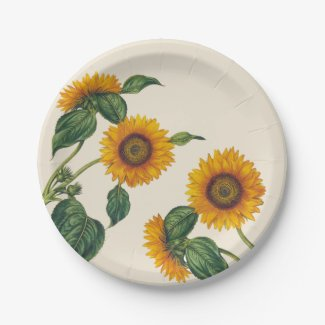 Golden Sunflowers Botanical Paper Plate 7""