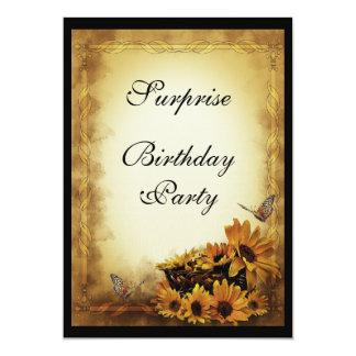 Golden Sunflowers & butterflies Surprise Birthday Card