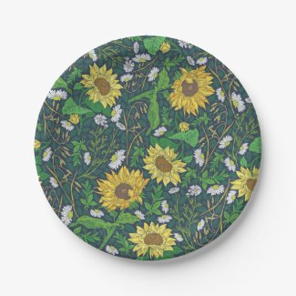 Golden Sunflowers Garden Art Paper Plates 7""