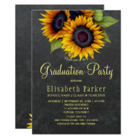 Golden sunflowers rustic chic graduation party card