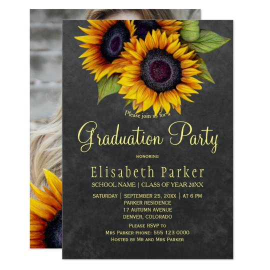 Golden sunflowers rustic photo graduation party invitation zazzle golden sunflowers rustic photo graduation party invitation filmwisefo