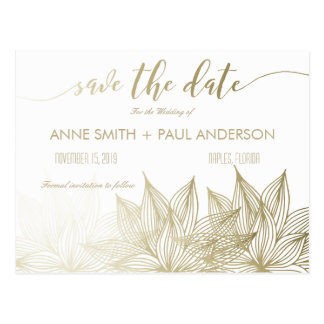 Golden sunflowers Save the Date Postcard
