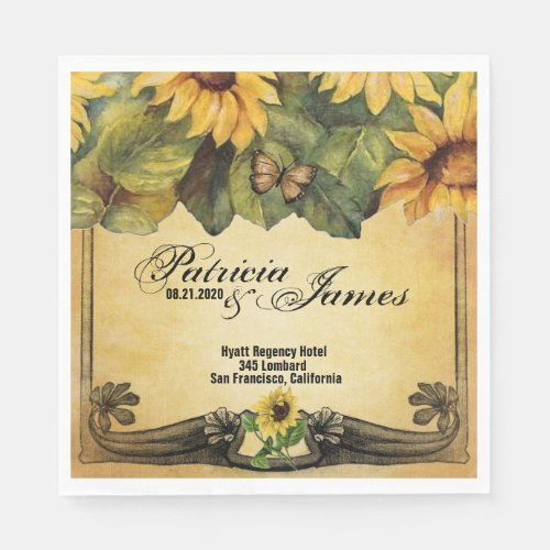 Golden Sunflowers Wedding Paper Napkins