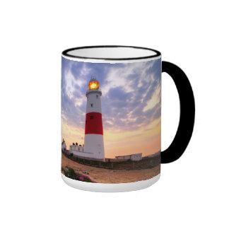 Golden Sunrise At Portland Bill Lighthouse Ringer Mug