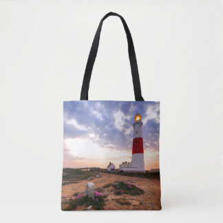 Golden Sunrise At Portland Bill Lighthouse Tote Bag