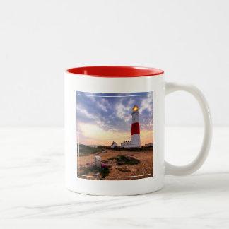 Golden Sunrise At Portland Bill Lighthouse Two-Tone Coffee Mug
