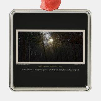 Golden Sunrise Winter Forest Centennial Ed Metal Ornament