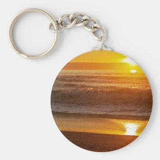 Golden Sunset at Horsfall Beach Basic Round Button Keychain