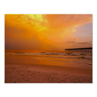 Golden Sunset at the Pier Poster