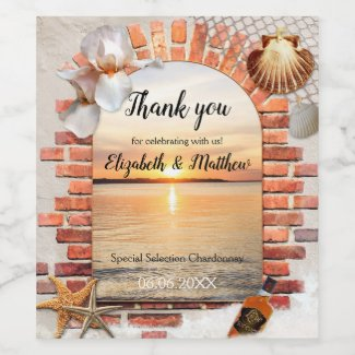 Golden Sunset Beach Destination Wedding Wine Label