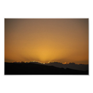 Golden Sunset Behind The Mountains Poster