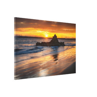 Golden Sunset By The Ocean Canvas Print