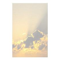 Golden Sunset Illuminating a Cloud Stationery