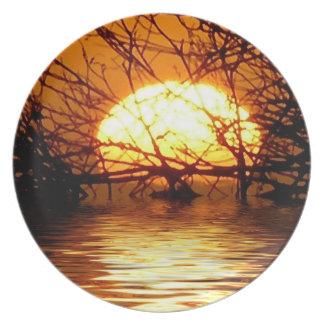 Golden Sunset Liquid Reflection Plate