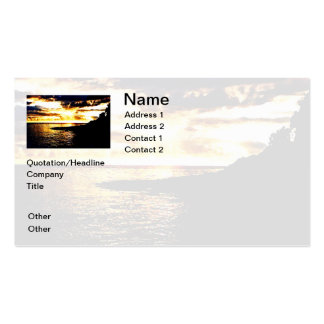 Golden Sunset Over the Water in Dominica Business Card Template