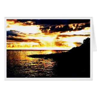 Golden Sunset Over the Water in Dominica Card