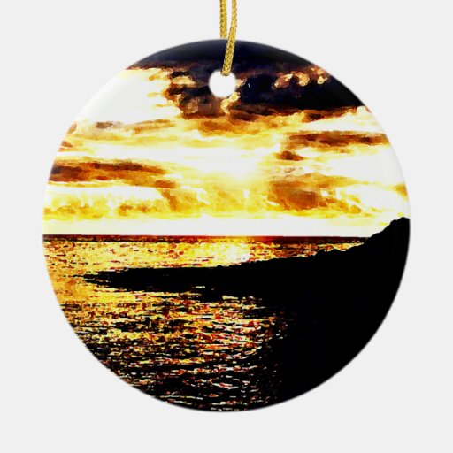 Golden Sunset Over the Water in Dominica Ornament
