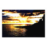 Golden Sunset Over the Water in Dominica Photograph