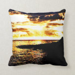 Golden Sunset Over the Water in Dominica Pillows