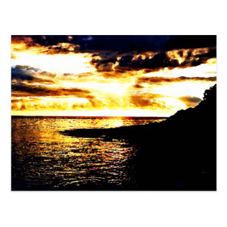 Golden Sunset Over the Water in Dominica Postcard