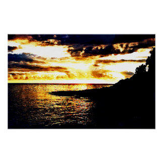 Golden Sunset Over the Water in Dominica Poster