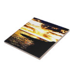 Golden Sunset Over the Water in Dominica Tile