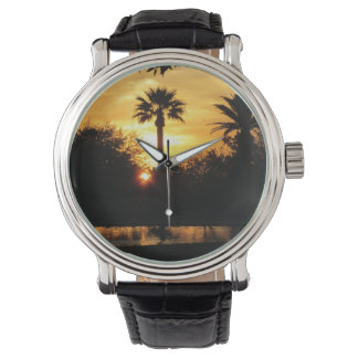 Golden Sunset Over Tucson Wristwatch