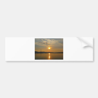 Golden Sunset reflecting in calm waters Bumper Sticker