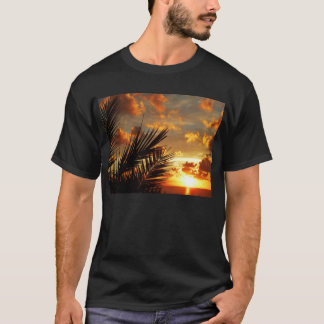 Golden Sunset Sea and Palmtree Dark T-Shirt