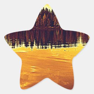 Golden Sunset Star Sticker
