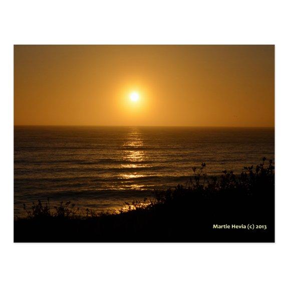 Golden Sunset V | Blue Beach Song™ Postcard