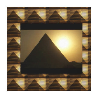 Golden Sunset : Vintage Egypt  PYRAMID Collection Canvas Print