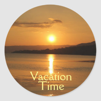 "Golden Sunset | Yellow ""Vacation Time"" Typography Classic Round Sticker"