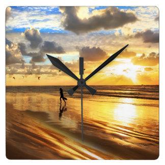 Golden Surf Sunset Wall Clock