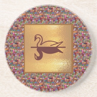 Golden SWAN -  Happy Holidays Decorations Drink Coasters