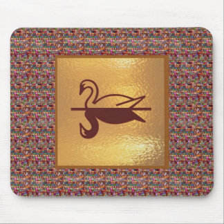 Golden SWAN -  Happy Holidays Decorations Mouse Pads