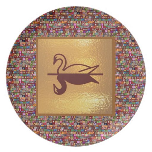 Golden SWAN -  Happy Holidays Decorations Party Plates
