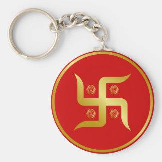 Golden Swastika Basic Round Button Keychain