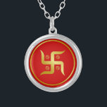 "Golden Swastika SIgn Silver Plated Necklace<br><div class=""desc"">Golden Swastika SIgn</div>"