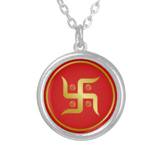Golden Swastika SIgn Silver Plated Necklace