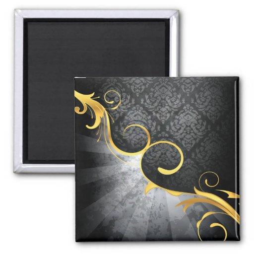golden swirl on greys damask classy design 2 inch square magnet