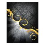 "golden swirl on greys damask classy design 8.5"" x 11"" flyer"