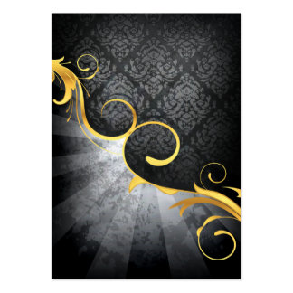 golden swirl on greys damask classy design large business cards (Pack of 100)
