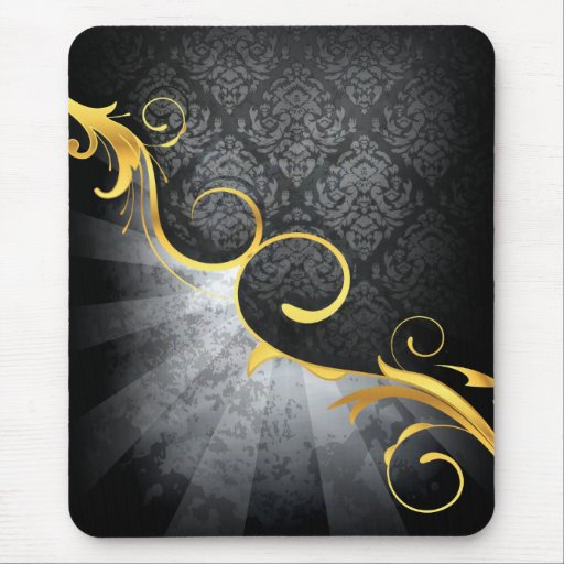golden swirl on greys damask classy design mouse pad