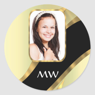 Golden swirl photo template classic round sticker