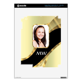Golden swirl photo template decal for iPad 3