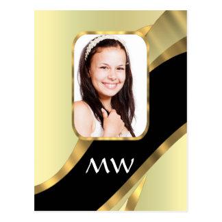 Golden swirl photo template postcard