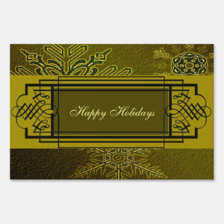 Golden Swirl Snowflakes Sign