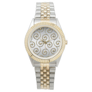 Golden Swirl Unisex Two-Tone Bracelet Watch
