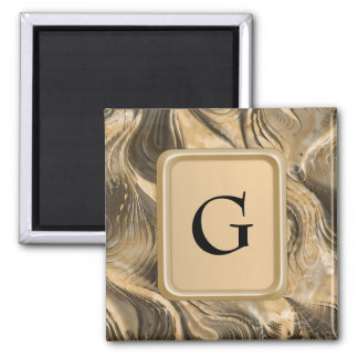 Golden Swirls 2 Inch Square Magnet